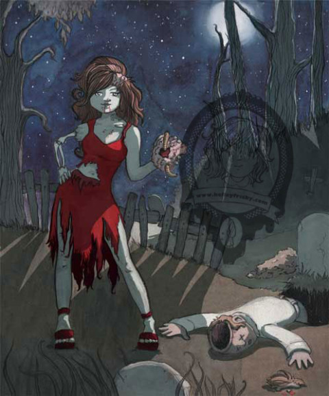 "Kelley Frisby illustration Into The Pixel art submission ""Exhumed"" zombie pinup"